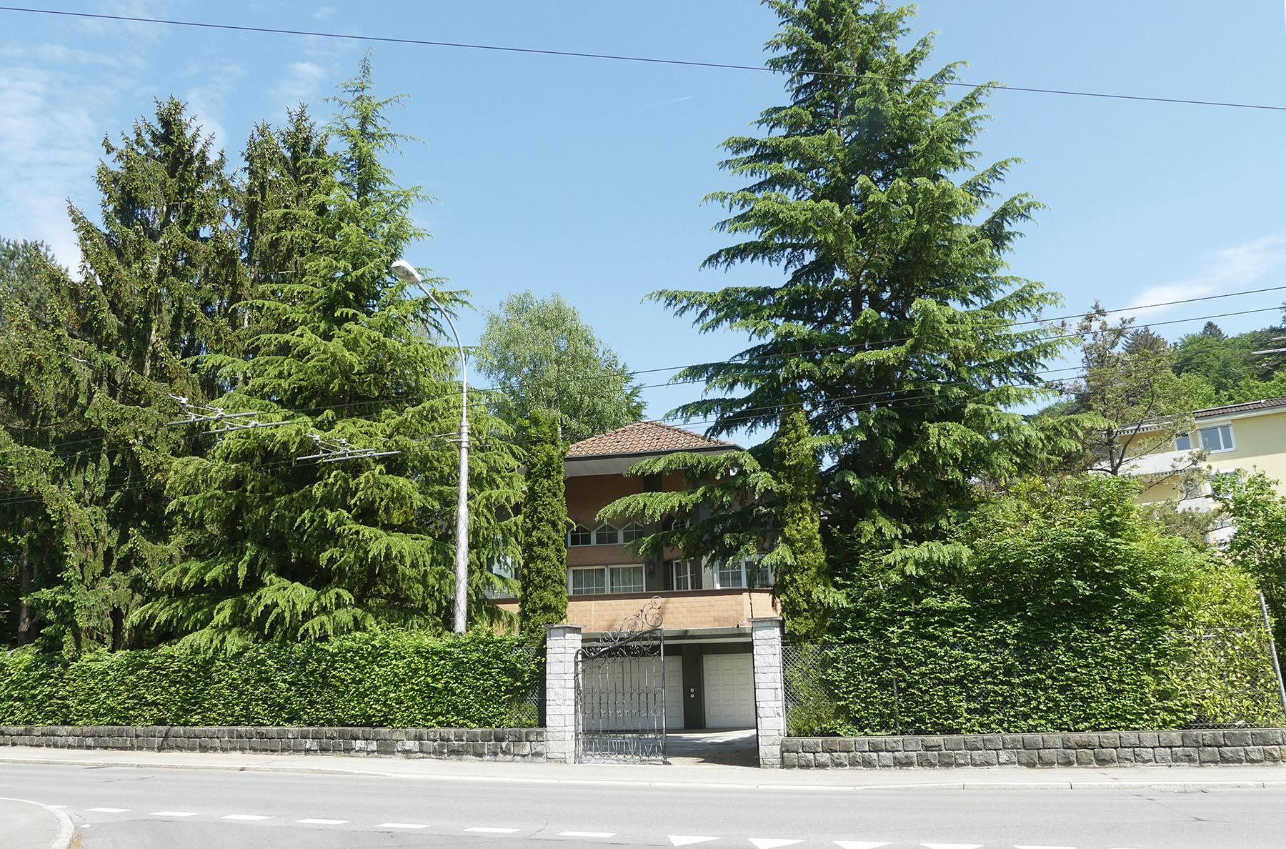 Nach wie vor von hohen Tannen, Gebüschen und einem Zaun umgeben: Die Liegenschaft an der Sternmattstrasse 68.
