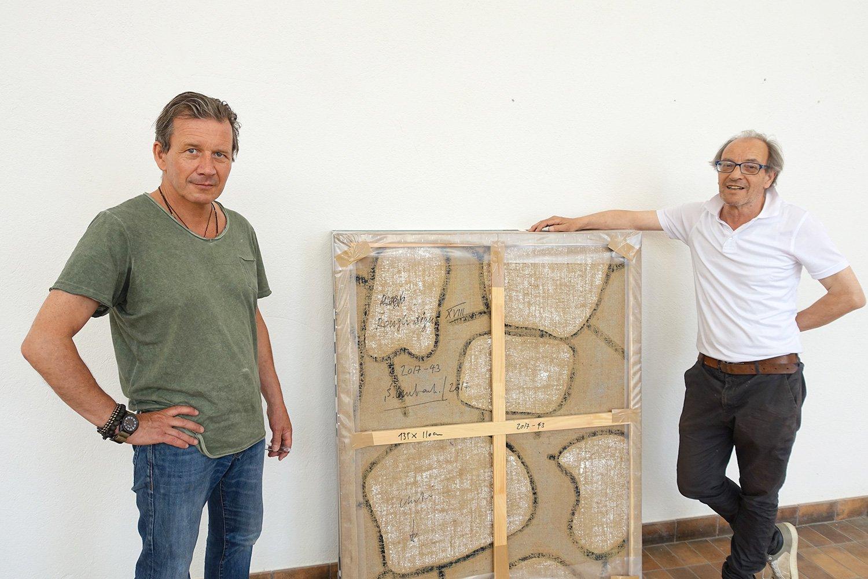 Welches Bild verbirgt sich da? Samuel Imbach und Henri Spaeti (rechts).