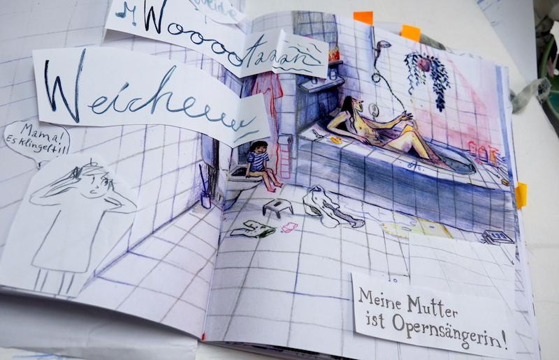 Die Skizzen von Haslbauer geben einen Eindruck davon, wie ihr Buch sich präsentieren wird.