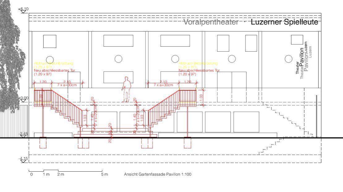 Zwei Treppen sollen vom Theater Pavillon in den Treibhausgarten führen (Blick vom Treibhaus Richtung Pavillon).
