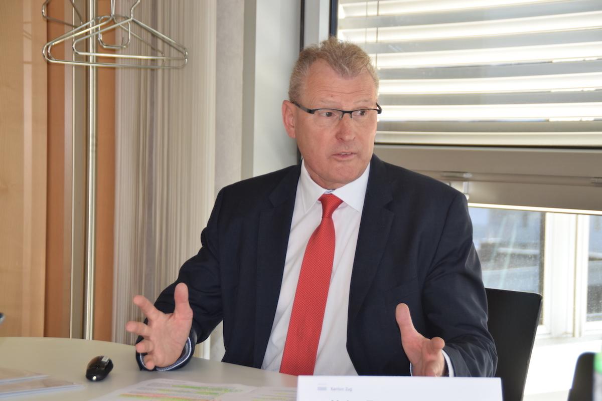 Der Zuger Finanzdirektor Heinz Tännler lud heute zur Medienkonferenz zum Budget 2018 (Archivbild.)
