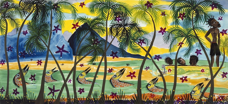 Claude Sandoz, Out of a Paradise, Three Happy Fishermen at Easter I, St. Lucia, 2000, Aquarell und Gouache auf Papier, 327 x 182 cm