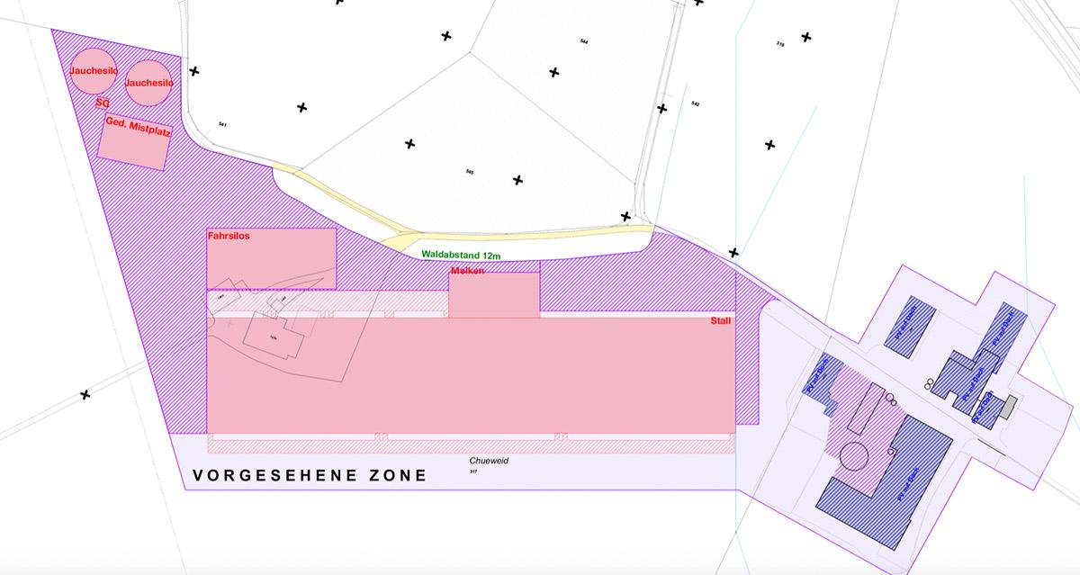 Der Grundriss des geplanten Grossbetriebs in Hünenberg.