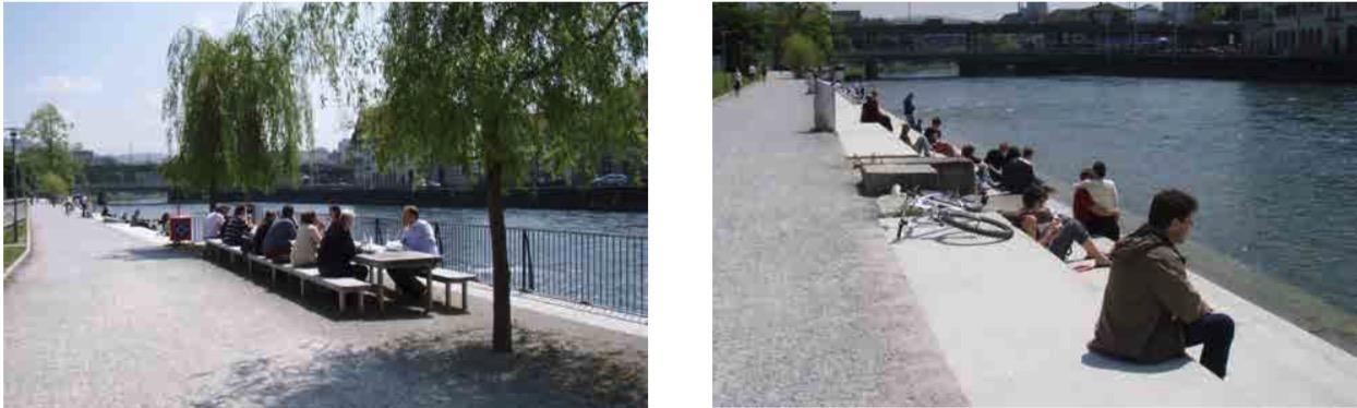 So könnte es an der Reuss auch aussehen: Inspirationen vom Wipkingerpark aus Zürich. (Bilder: zvg)