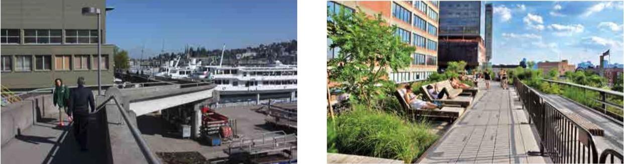 Die heutige Hafenanlage mit Fussgängersteg (links) und als Vision eine «Highline» aus New York. (Bilder: zvg)