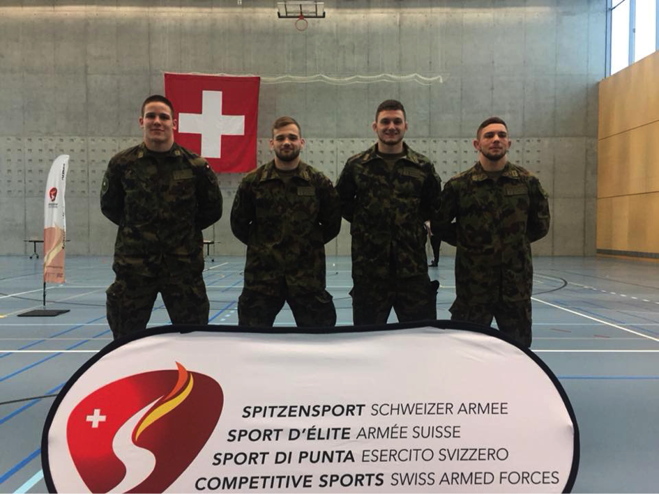 Die vier Schweizer Ringer beim Besuchstag in Magglingen.
