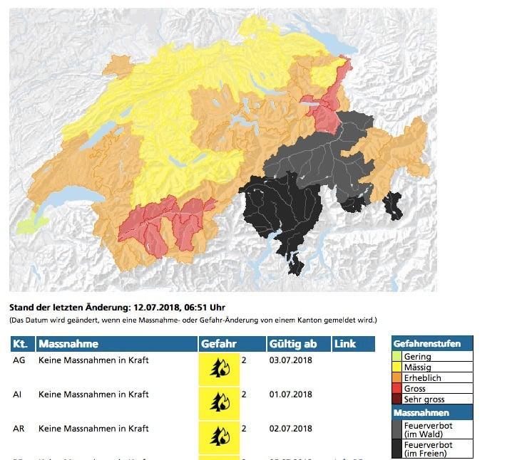 Auf waldbrandgefahr.ch ist die Brandgefahr in der Schweiz ersichtlich.