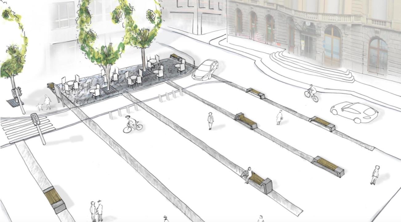 Visualisierung des künftigen oberen Postplatzes.