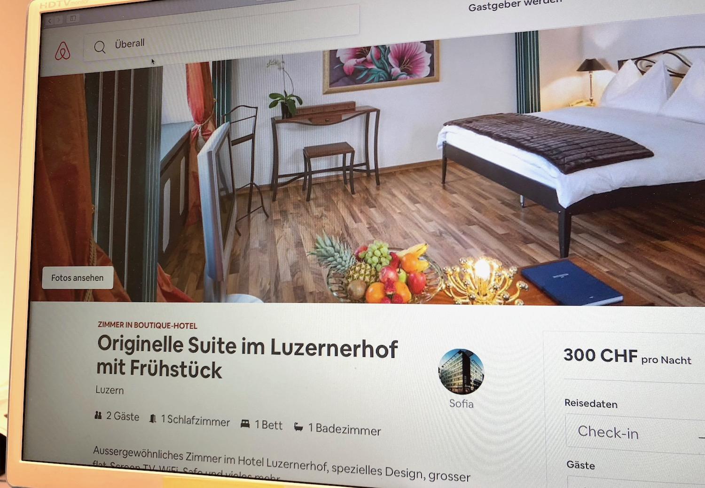 Eine Suite im Hotel Schweizerhof gefällig? Auch dies findet man auf Airbnb.