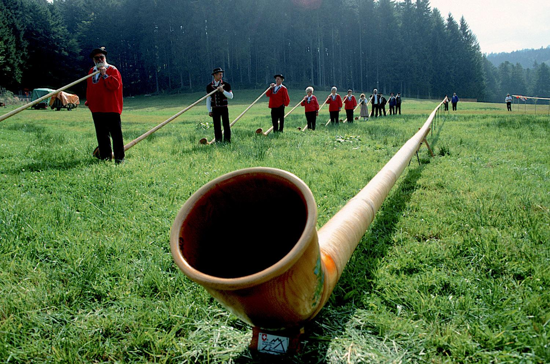 Das 1991 auf der Krienseregg präsentierte Alphorn mit einer Länge von 47 Metern.