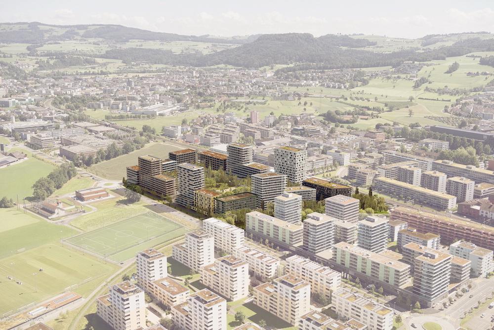 Bombastisch: So sah die ursprünglich geplante Überbauung Unterfeld (eingefärbte Fläche) aus. Das Projekt sollte Zug (vorne im Bild) und Baar (hinten) verbinden und einen neuen Stadtteil hervorbringen. Doch die Baarer Stimmbürger waren dagegen.