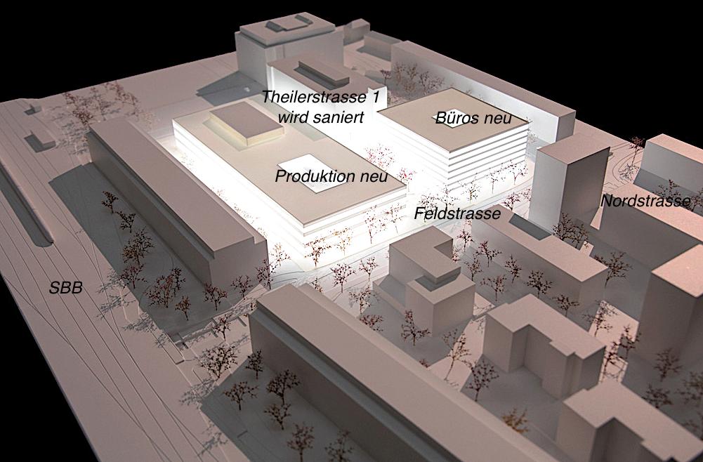 So sieht der neue Siemens-Campus in Zug zwischen Nordstrasse, Feldstrasse und Theilerstrasse im Modell aus.