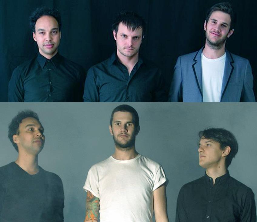 Les Yeux Sans Visage noch mit Schlagzeuger Dominic Deville (oben Mitte) und mit Flavio Merlo (unten rechts).