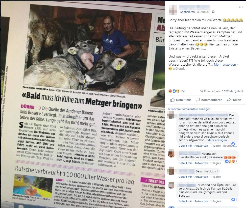 Durstige Kühe und viel Wasser auf der Rutsche: Dieser Facebook-Post wurde rege geteilt.