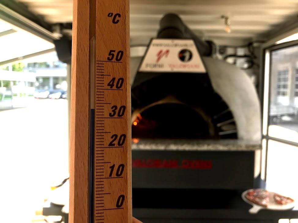 33 Grad warm ist es an besagtem Tag in der Pizzastube. Bei Durchzug.