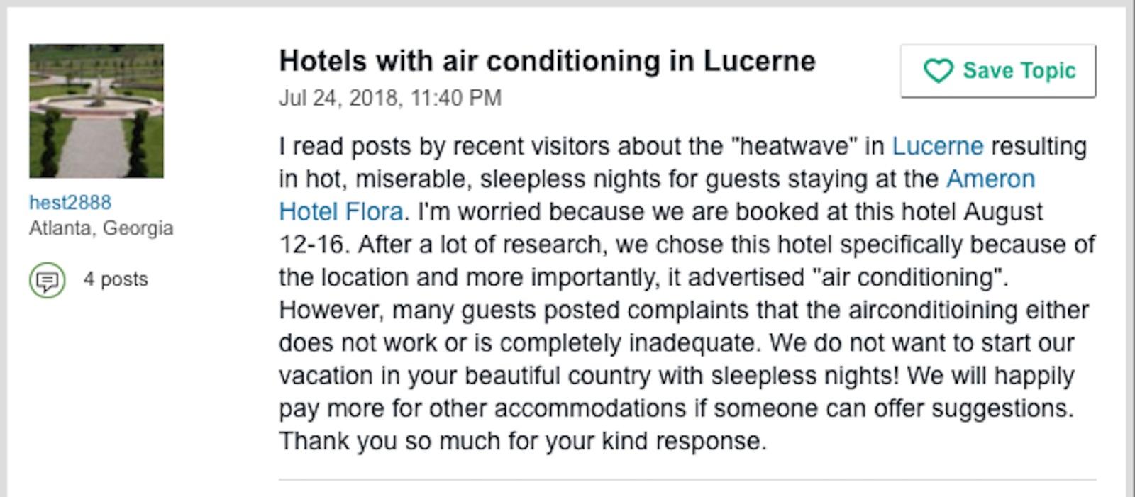 Eine Person aus Atlanta (Georgia) äussert ihre Ängste vor der Reise nach Luzern.