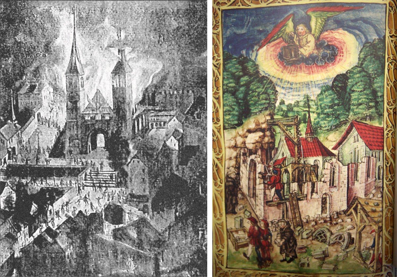 Der Brand der Hofkirche Luzern nach einem Gemälde im Kloster Werthenstein (links) und der Wiederaufbau.