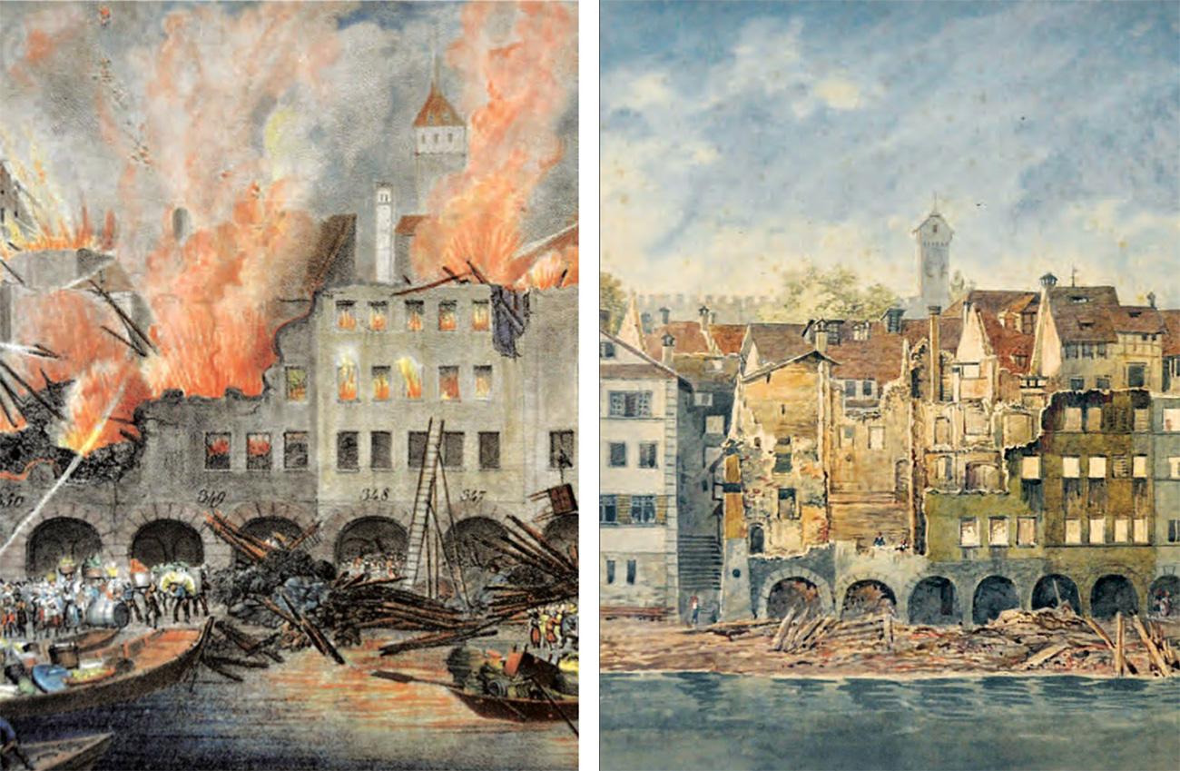 1833 wütete der letzte Grossbrand in Luzern unter der Egg, in der Kornmarktgasse und auf dem Weinmarkt.
