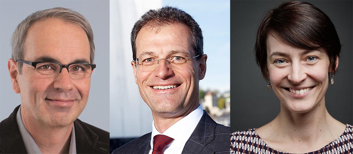 Von links: Beat Züsli (Stadtpräsident), Reto Wyss (Regierungsrat), Eva Laniado (IG Kultur).