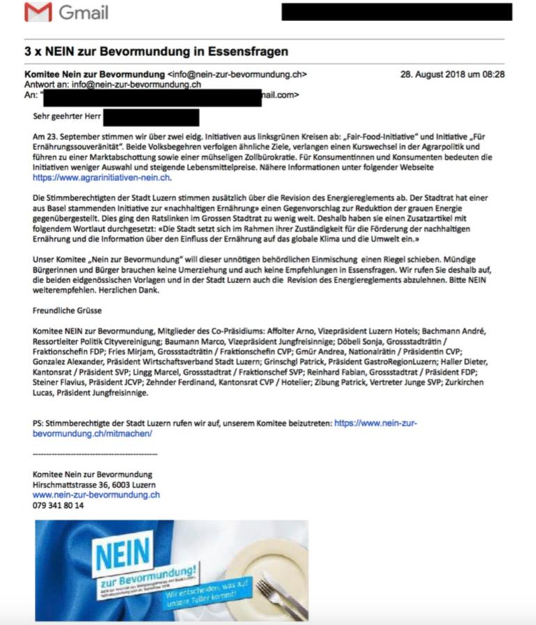 Das E-Mail, über das sich ein zentralplus-Leser ärgert.