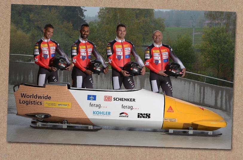 Das Bobteam trägt das Logo der SBB-Bahnpolizei auf der Brust. Billi Meyerhans (ganz rechts) und FDP-Nationalrat Marcel Dobler (Zweiter von rechts) sind die Aushängeschilder des Teams.