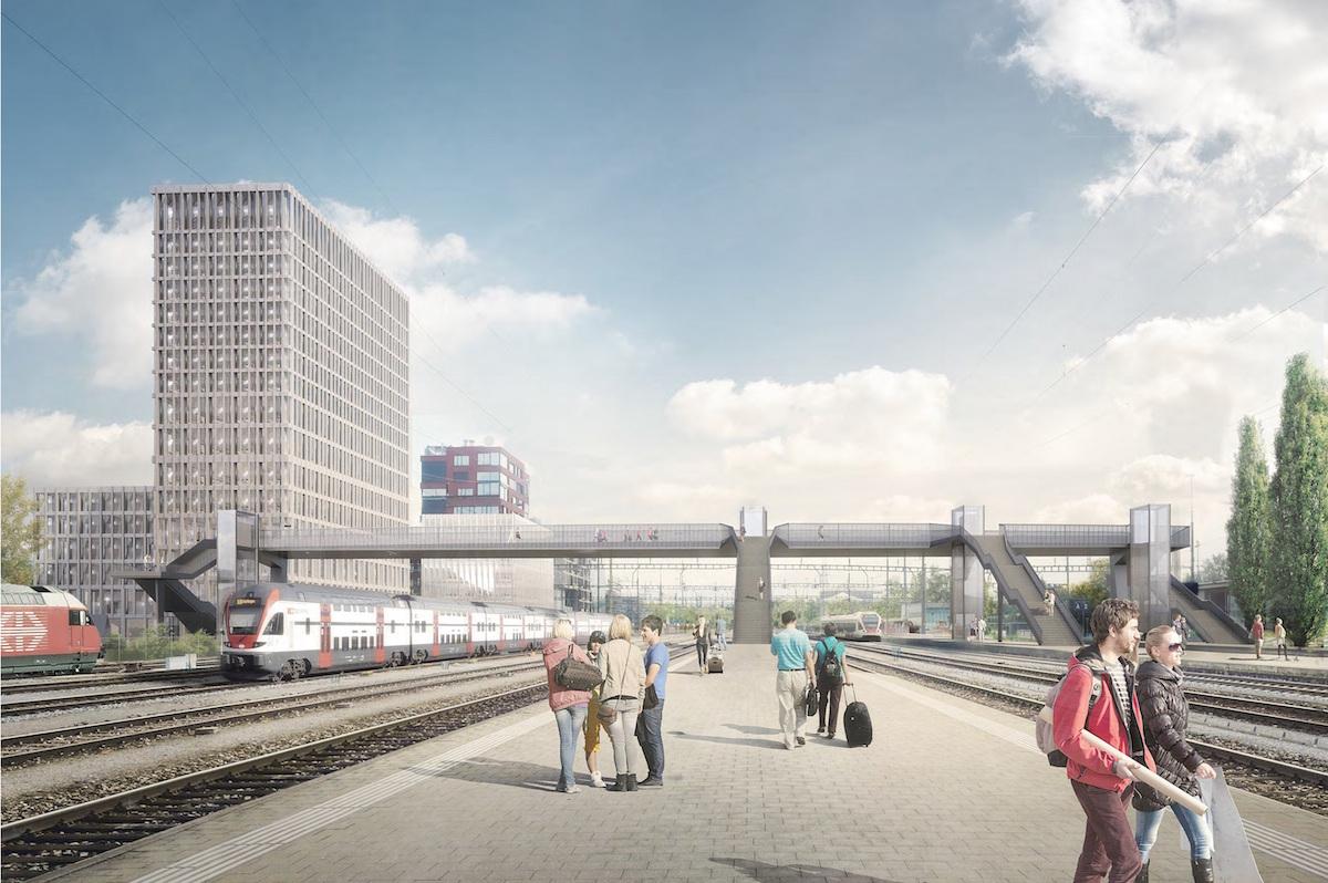 Die Visualisierung des Siegerprojekts «Tendenza» in Rotkreuz – der geplanten Fussgängerbrücke ins Gewerbegebiet Suurstoffi.