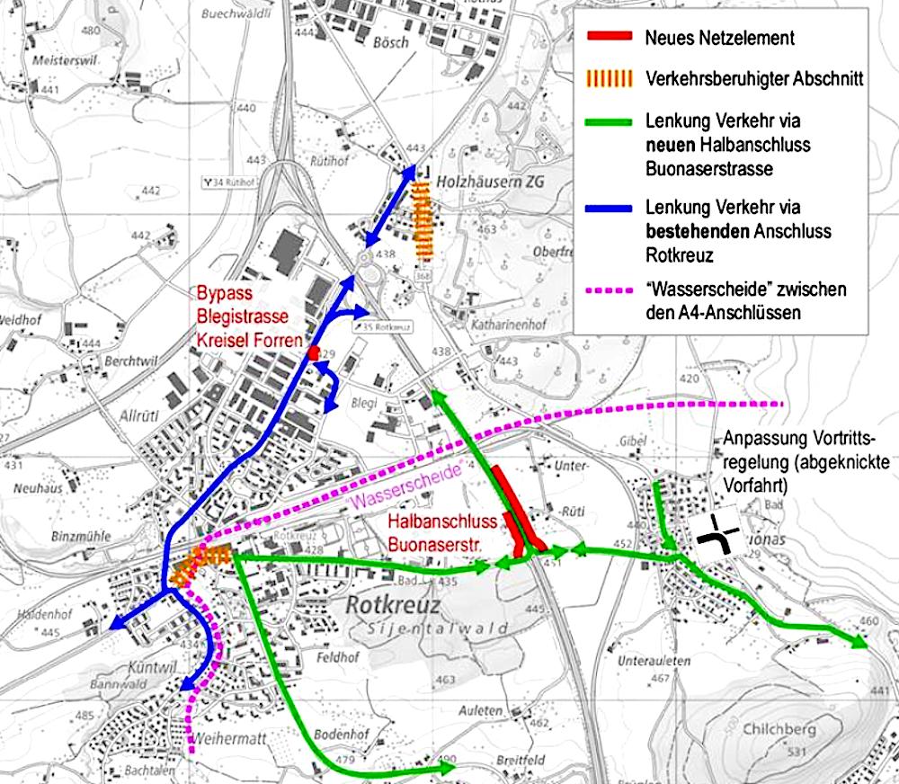So soll die «Bestvariante» des Kantons Rotkreuz vom Pendlerverkehr entlasten: Unten, mit Rot eingezeichnet, sind die neuen beiden Halbanschlüsse an der Autobahn Richtung Gotthard zu erkennen.