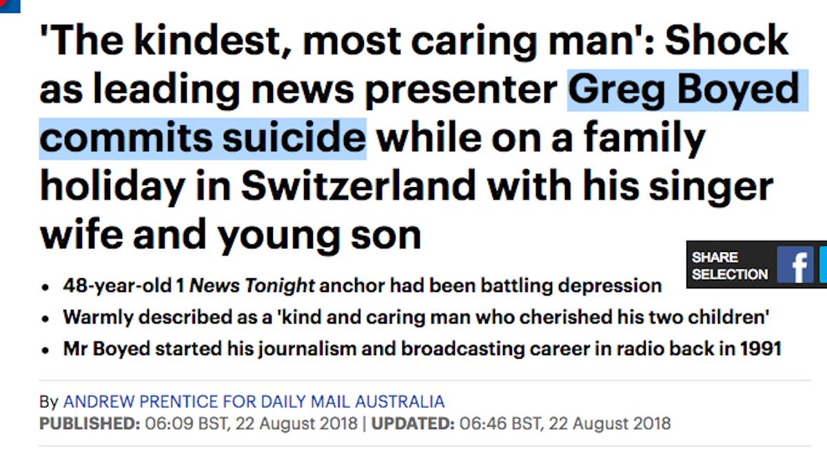 «Greg Boyed begeht Suizid»: Die «Daily Mail» spricht ungeschönten Klartext.