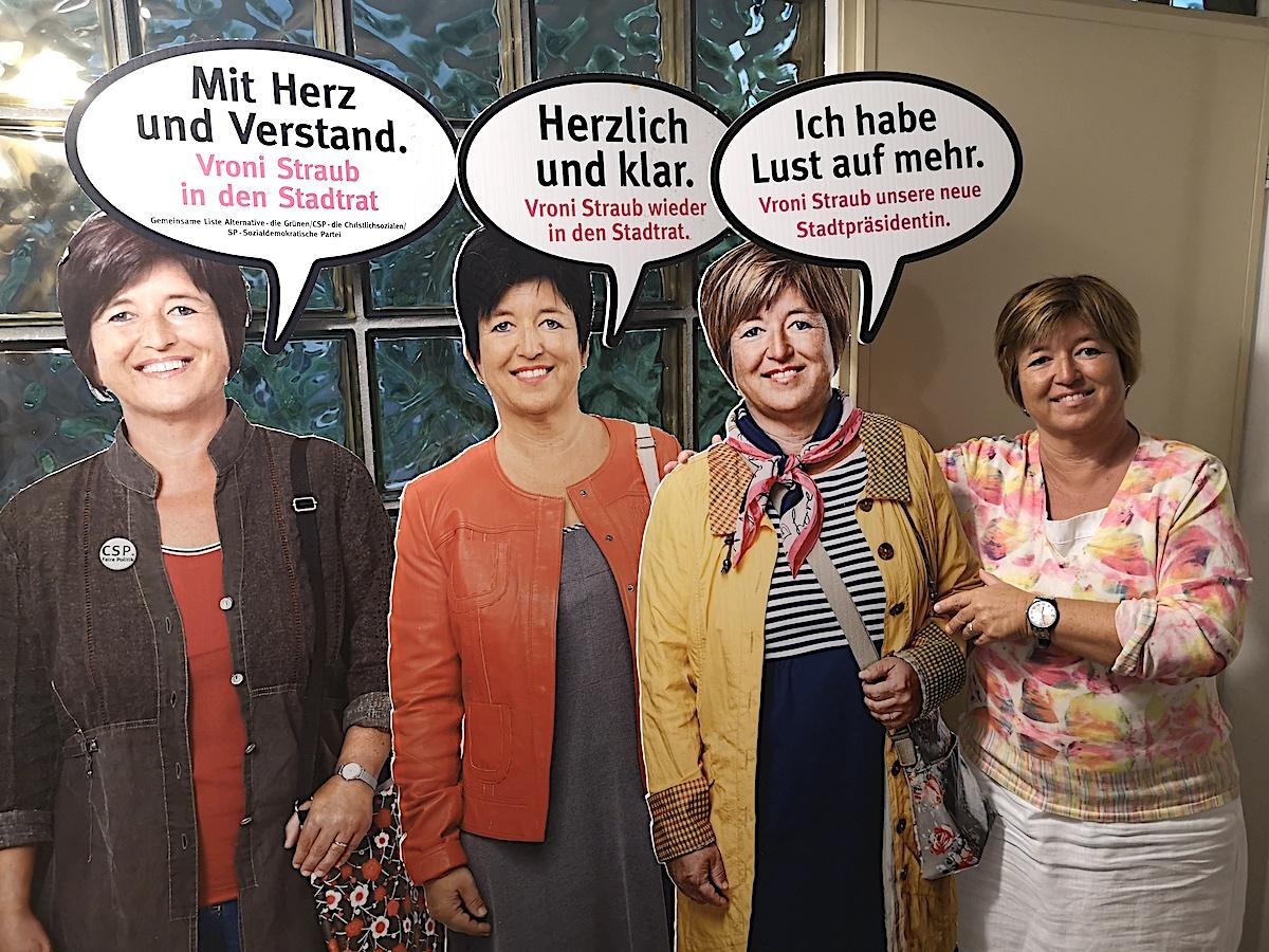 Die Ansprüche sind gestiegen, wie die Wahlplakate zeigen: Zuerst in den Stadtrat, dann wieder in den Stadtrat und nun auch noch Stadtpräsidentin. Vroni Straub-Müller, Zuger Bildungschefin, hat Grosses vor.
