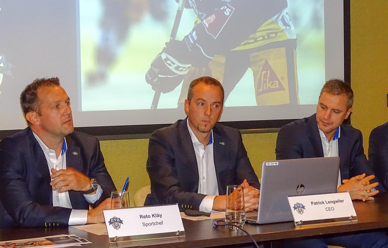 Sportchef Reto Kläy, CEO Patrick Lengwiler und Trainer Dan Tangnes.