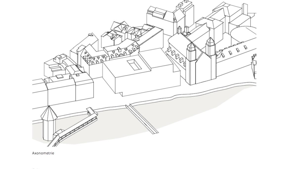 Skizze für einene Neubau des Luzerner Theaters.