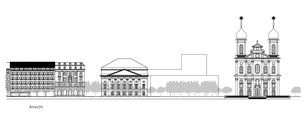 So könnte das alte Luzerner Theater Richtung Jesuitenkirche erweitert werden.