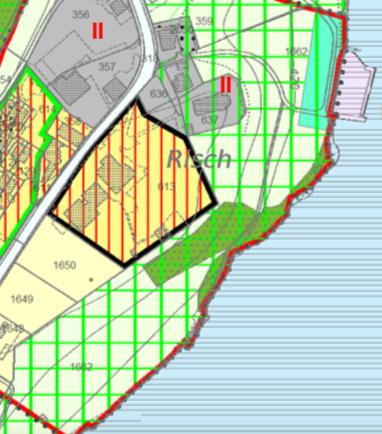Schribers Besitz: schwarz umrandet das Hotelensemble mit Bebauungsplanpflicht, links unten sein Bauland. Das Gelände am Seeufer ist geschützt.