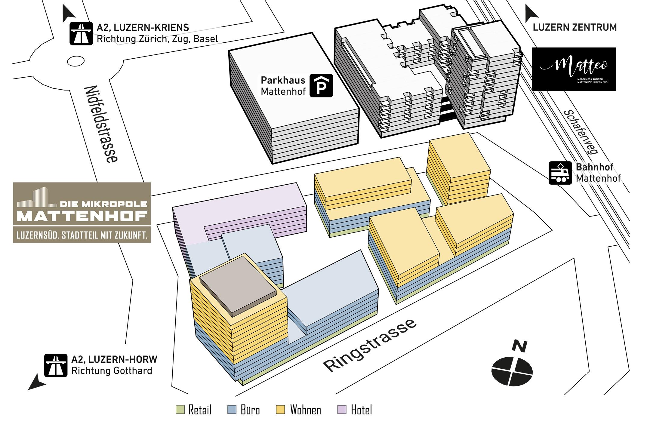 Oben die Siedlung «Matteo», unten das geplante Mattenhof-Quartier.