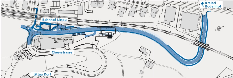 Die geplante Cheerstrasse verbindet den Kreisel Bodenhof mit dem Littauer Bahnhof. (Visualisierung: Abstimmungsbotschaft Stadt Luzern)