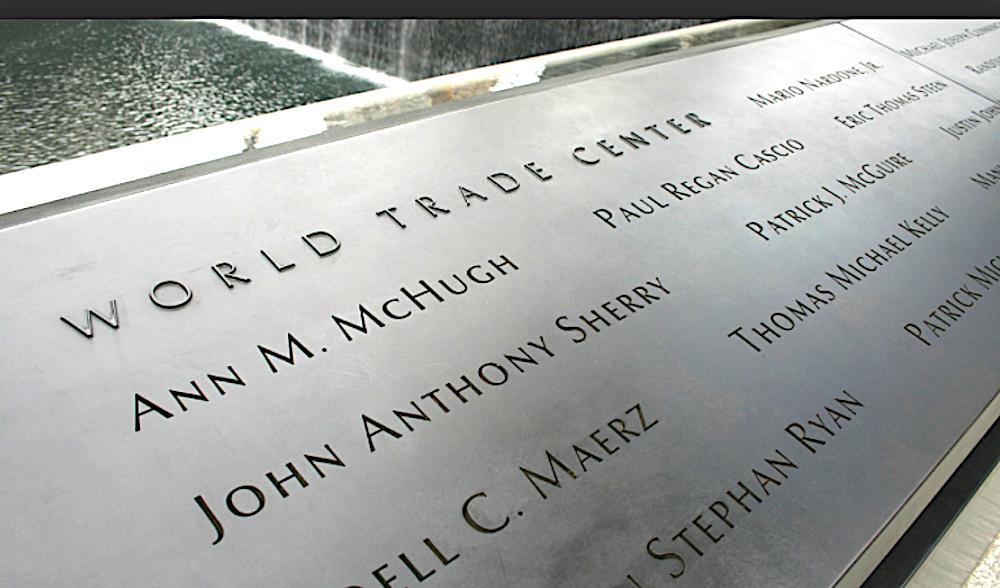 Am Nine-Eleven-Memorial in New York sind die 2977 Namen der Opfer des Terroranschlags alle in Bronze eingraviert.