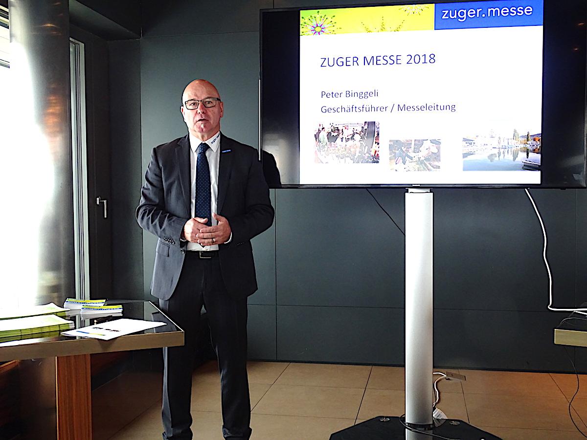 Peter Binggeli, Geschäftsführer der Zuger Messe, informierte über das neue Programm der 47. Ausgabe der Zuger Traditionsveranstaltung. Diese beginnt am 20. Oktober.