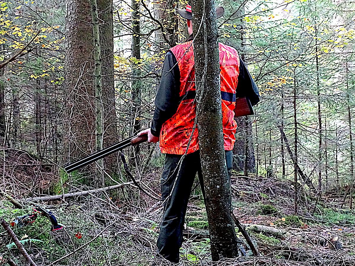 Der Zuger Bildungsdirektor im Wald: Konzentriert, mit der Schrotflinte im Anschlag wartet Stephan Schleiss darauf, dass der Bock aus dem Dickicht springt.