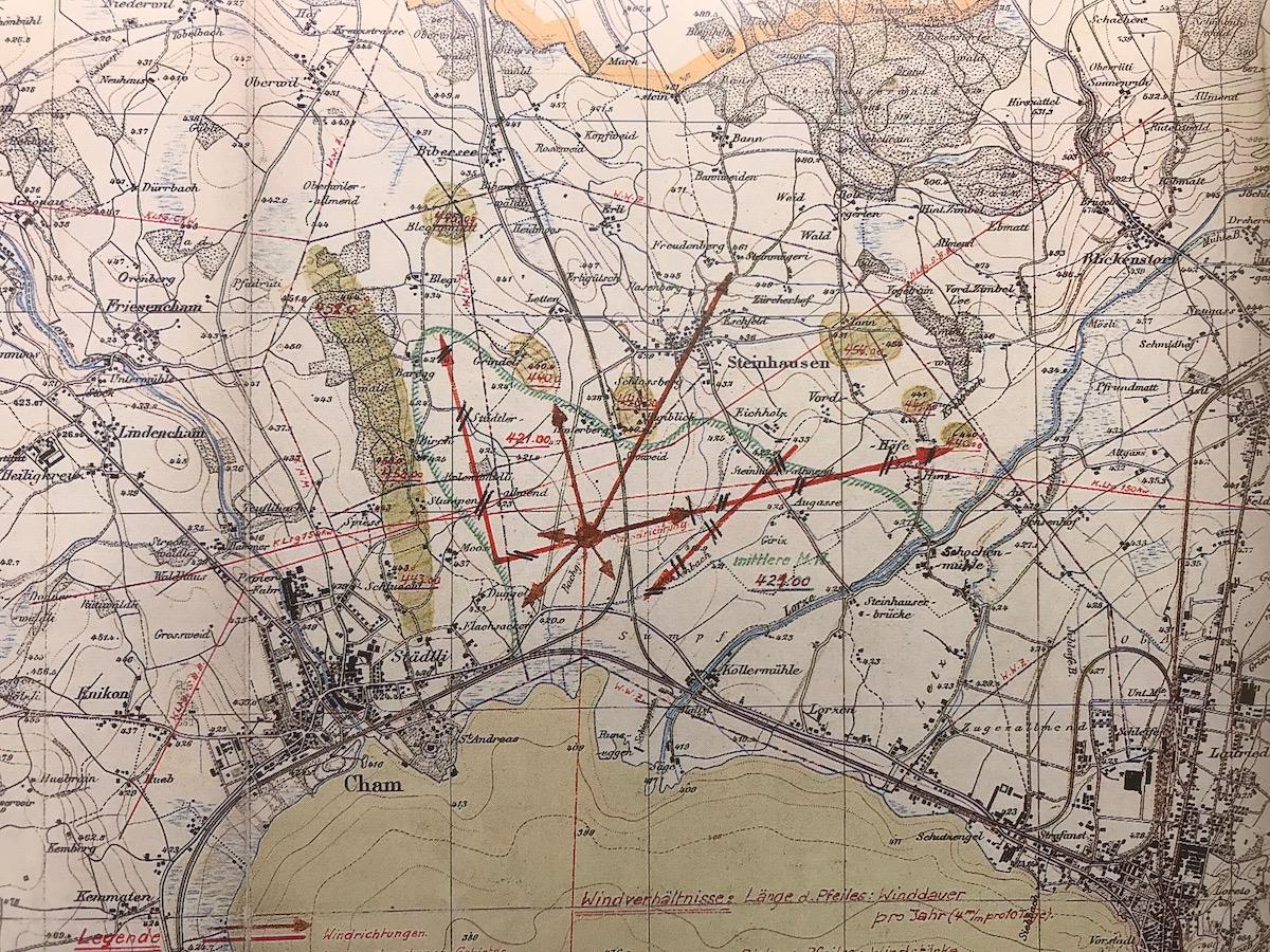 Skizzen aus den 40er-Jahren zu den möglichen Landepisten.