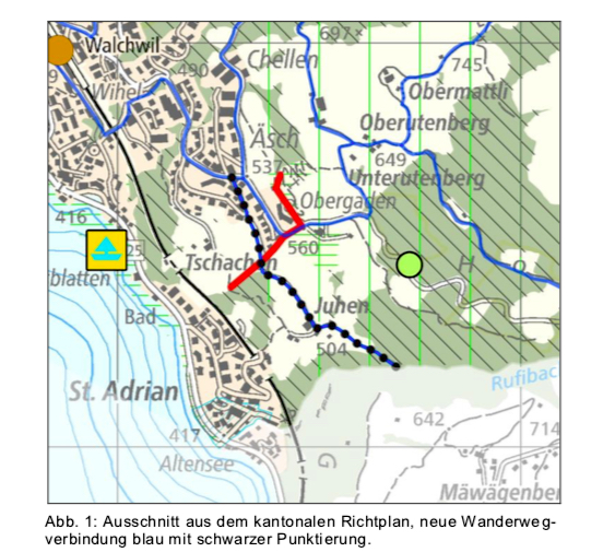 An der Grenze hört der geplante Wanderweg auf.