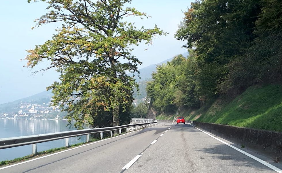 Zwischen See und Berg eingeklemmt: Landstrasse zwischen Arth und Walchwil.