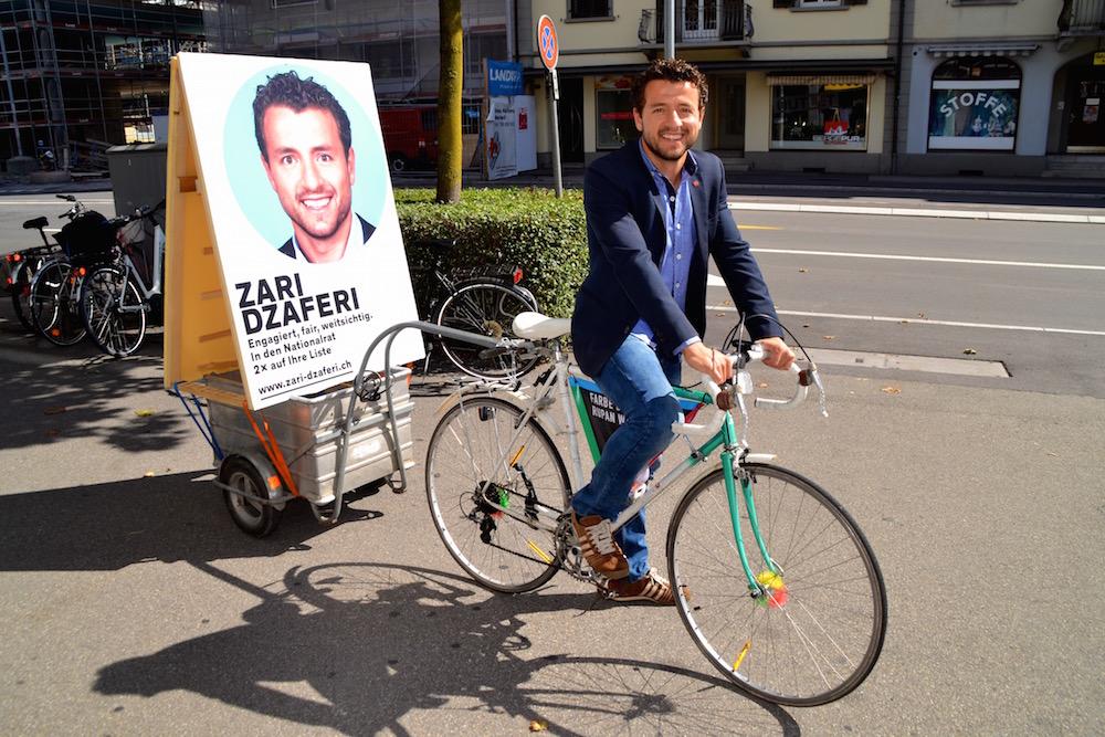 SP-Kandidat Zari Dzaferi erhielt Lob aus dem ganzen politischen Spektrum für seinen originellen Wahlkampf.
