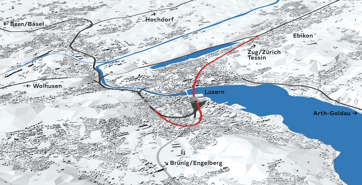 Unter dem See bis nach Ebikon: Die geplante Linienführung im Rahmen des Projekts Durchgangsbahnhof.(Visualierung: zvg)