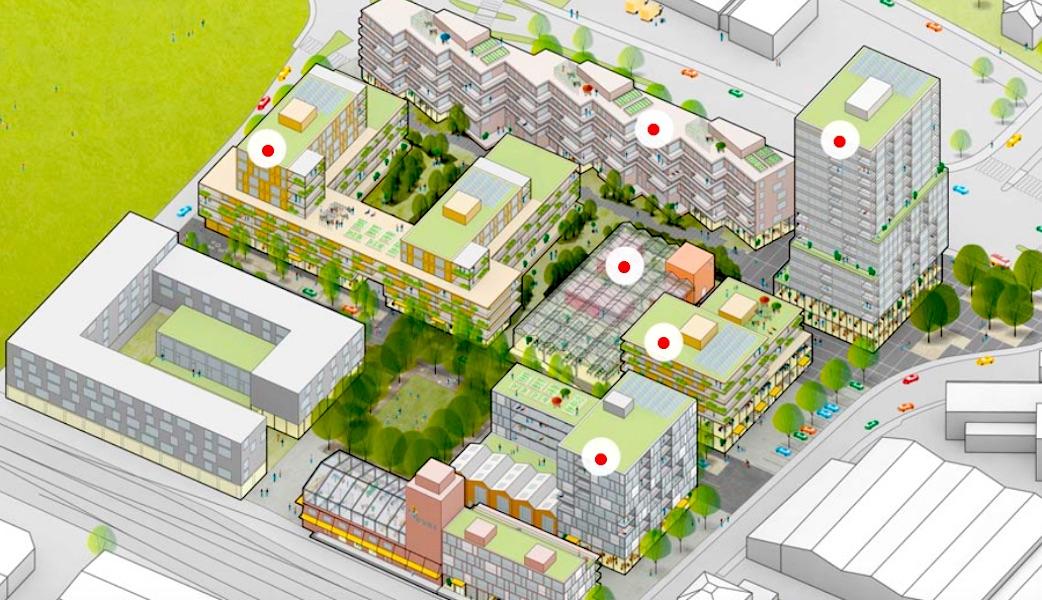 Visualisierung des geplanten Quartiers «Qube».