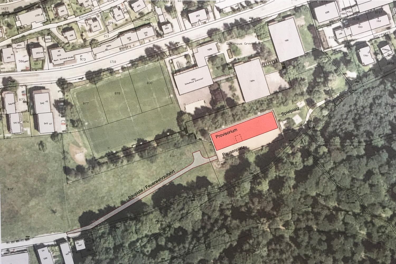 Vier Standorte wurden geprüft, jener auf dem Sandplatz oberhalb des Grenzhof-Schulhauses (rot markiert) erwies sich als der beste. (Grafik: zvg)