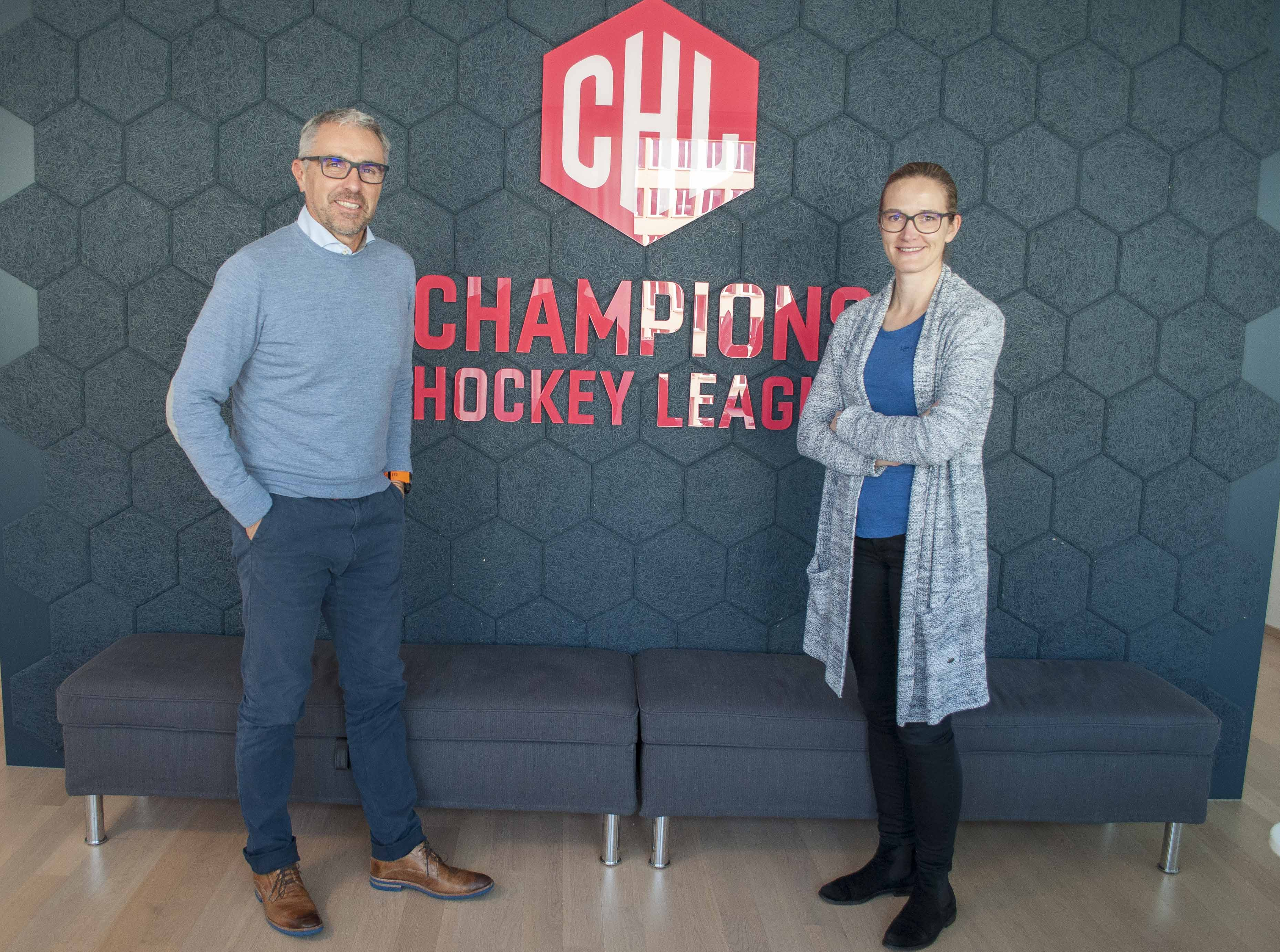 Champions Hockey League AG: CEO Martin Baumann (links) und Kommunikationschefin Monika Reinhard.