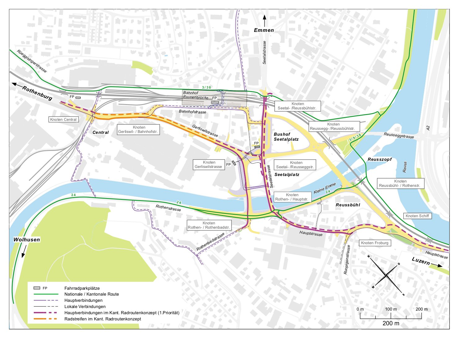 Dieser Plan zeigt alle Velorouten, die beim Seetalplatz verlaufen.
