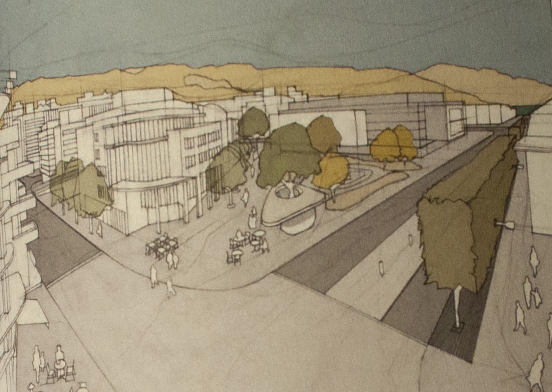 Visualisierung des zweitplatzierten Projekts «Zug um Zug«, mit Hecke.