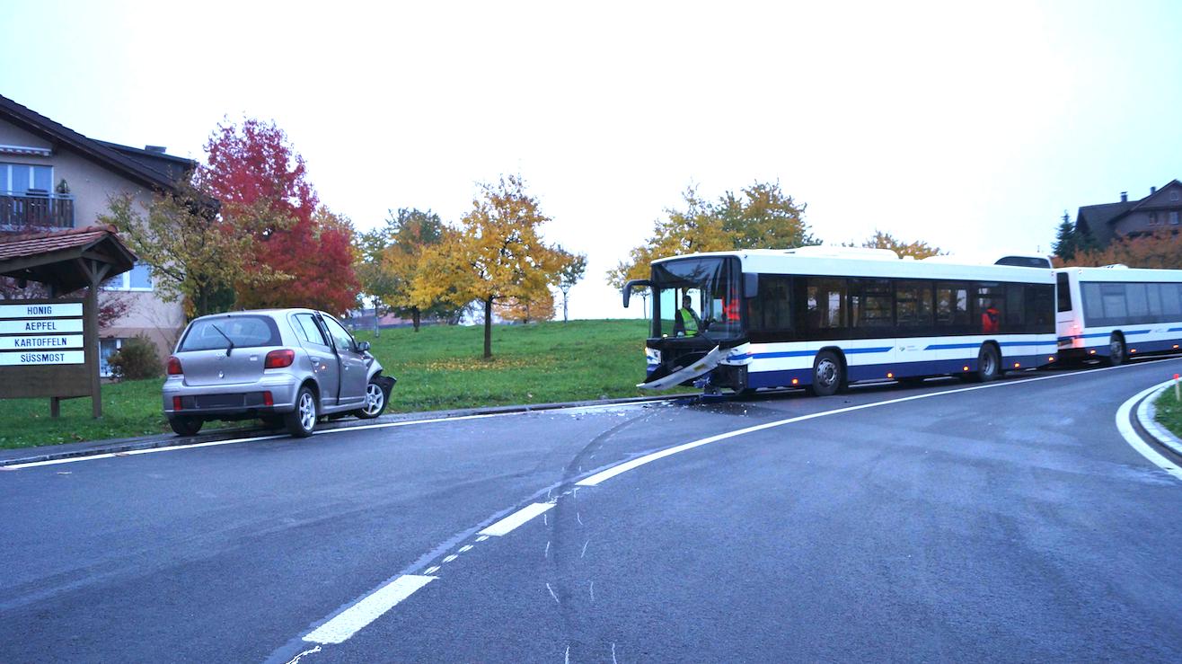 Der Unfallverursacher geriet auf die Gegenfahrbahn und prallte frontal in einen Linienbus