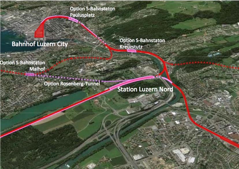 Das 2013 lancierte Projekt sieht einen Doppelspurausbau am Rotsee und einen neuen Bahnhof Luzern Nord beim Sedel vor. Dazu kämen S-Bahn-Stationen am Kreuzstutz und am Paulusplatz.